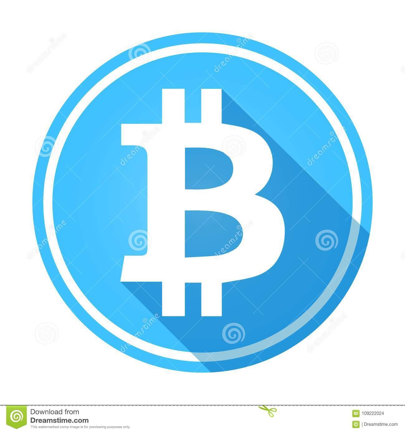 Shiny Circular Blue Bitcoin Logo Icon White On Blue Stock Vector Illustration Of Isolated Currency 109222024