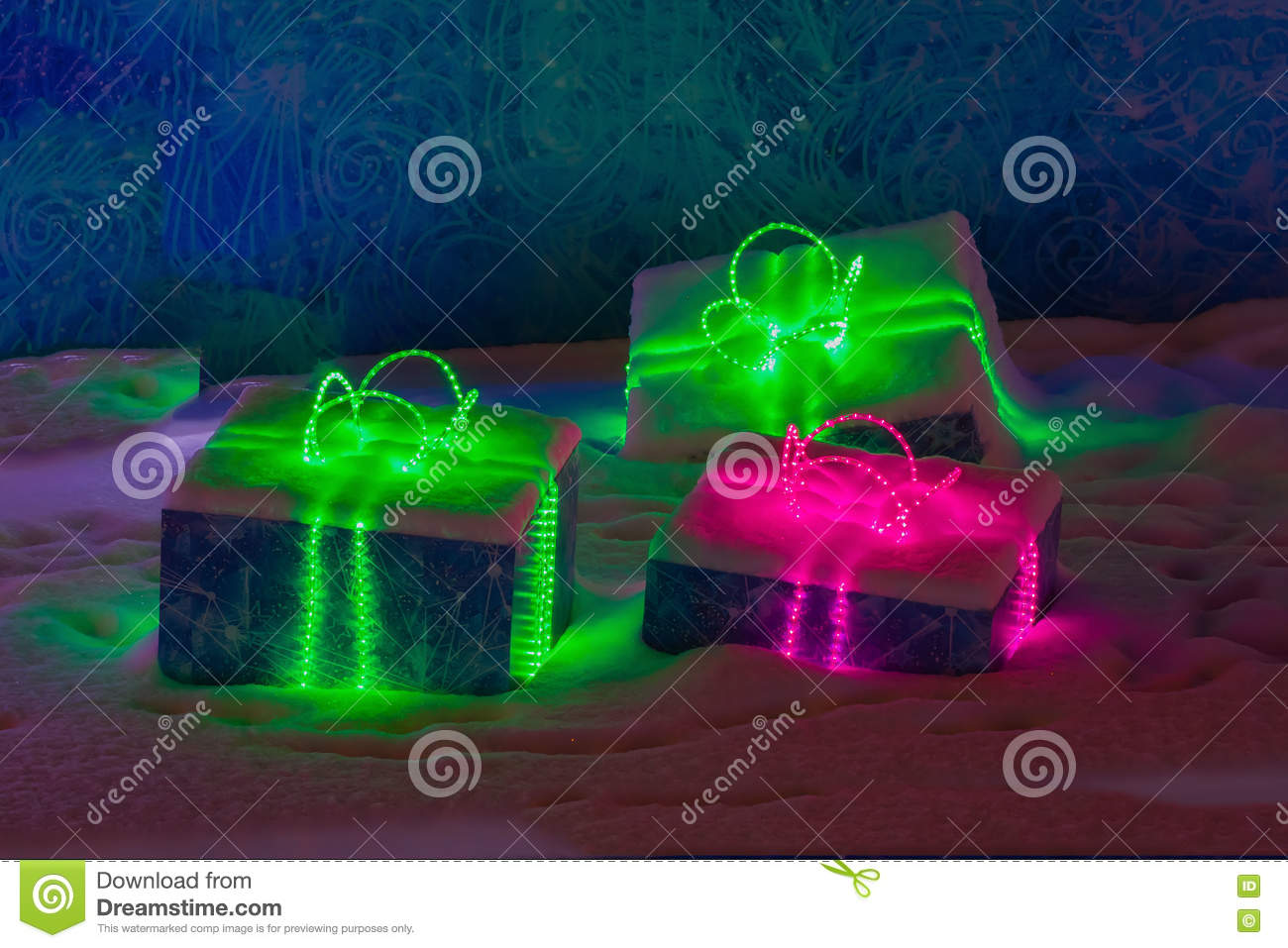 Shiny Contours Of A Present Neon Gift Box With Glowing Sparkles On