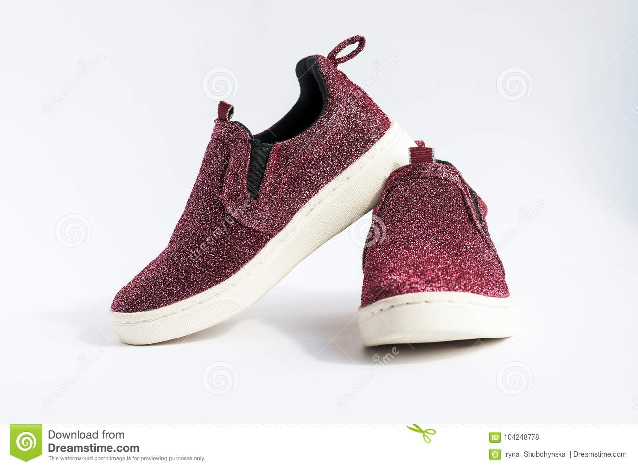 Shiny Dark Red Moccasins With White