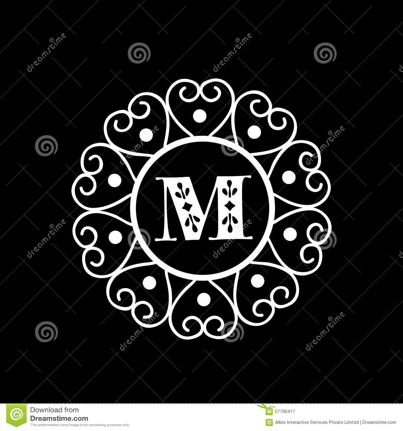 Shiny Frame With Letter M For Monogram Stock Illustration