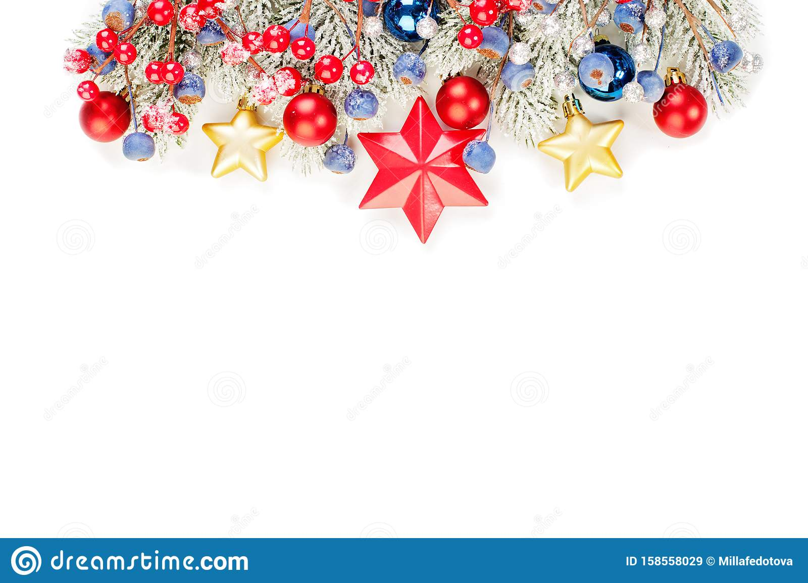 Shiny glitter Christmas border isolated on white background. Colorful banner with green Xmas tree twig, holly berries