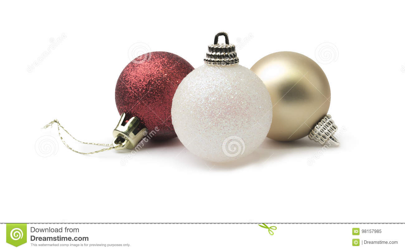 b221c5e587d4 Shiny Glitter Red Gold And White Christmas Bauble Isolated On A ...
