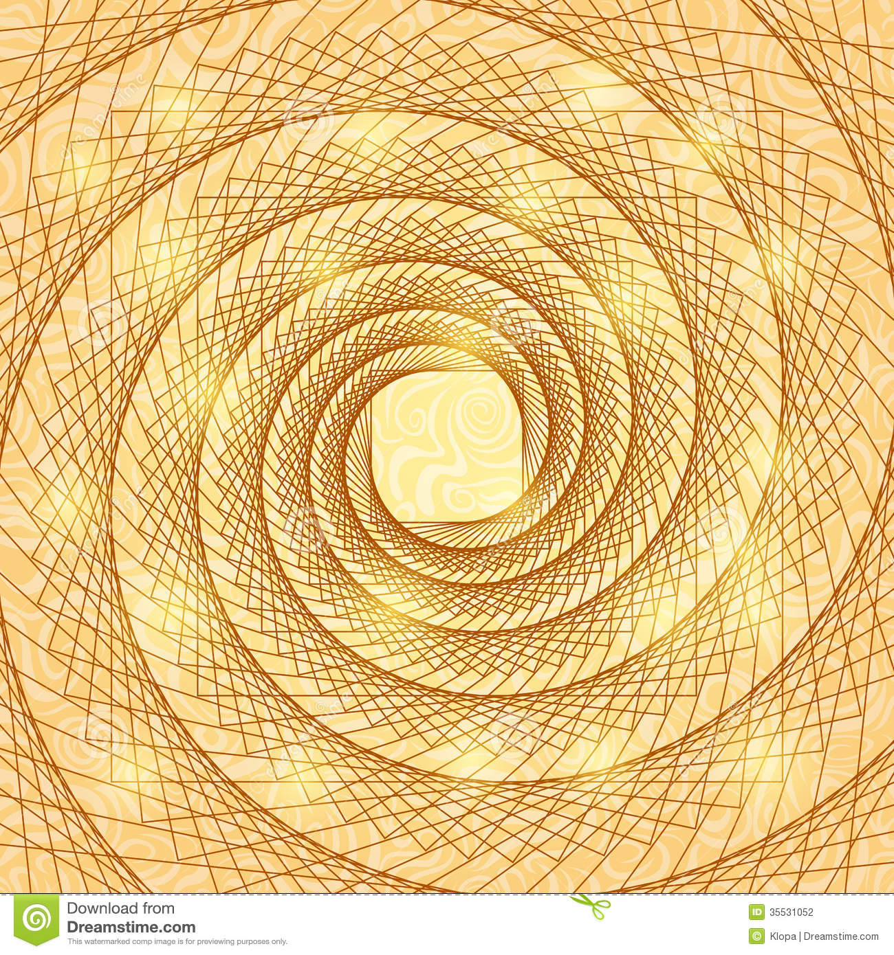 Shiny Gold Abstract Spiral Doodle Card Background Illustration on spiral doodle border