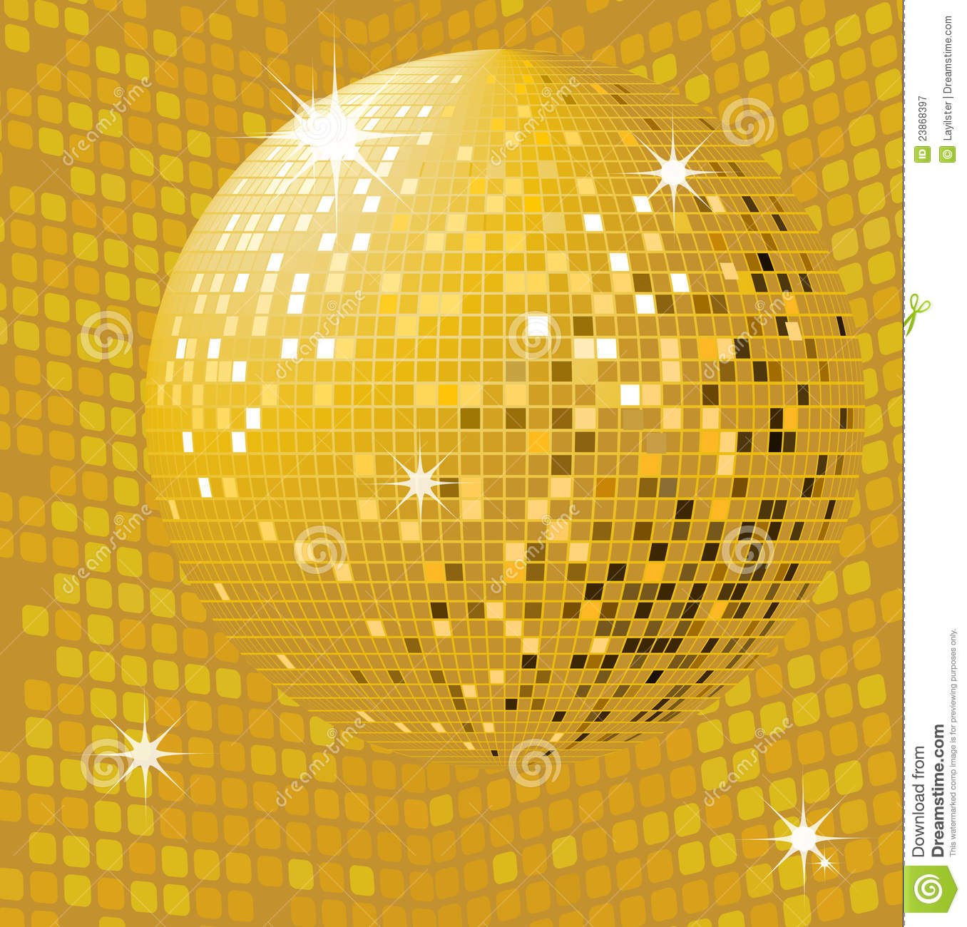 Shiny gold disco ball stock vector. Illustration of light ...