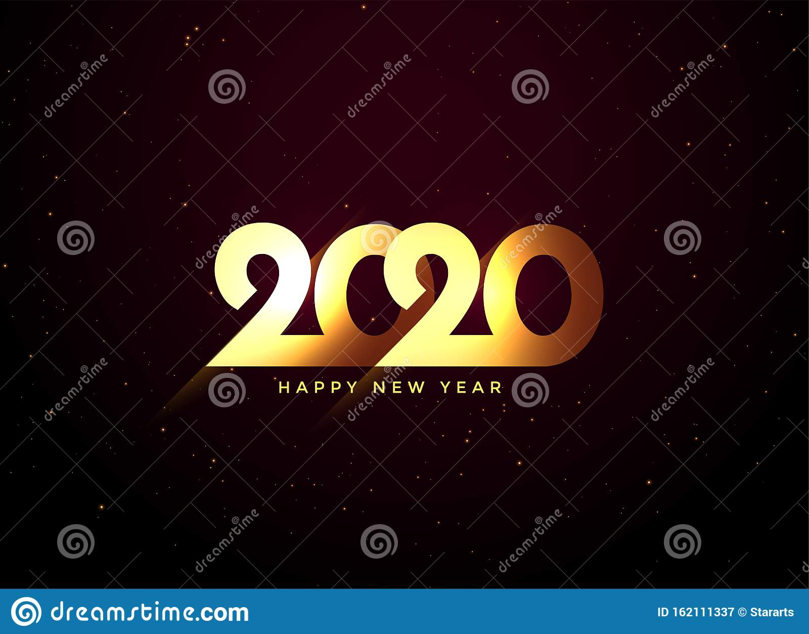 Shiny golden 2020 happy new year background design