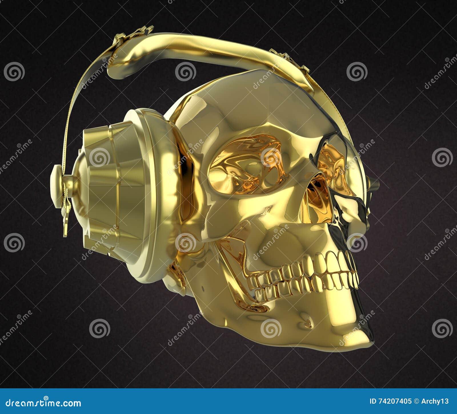 Shiny Golden Human Skull With Studio Earphones On, Render Side ...