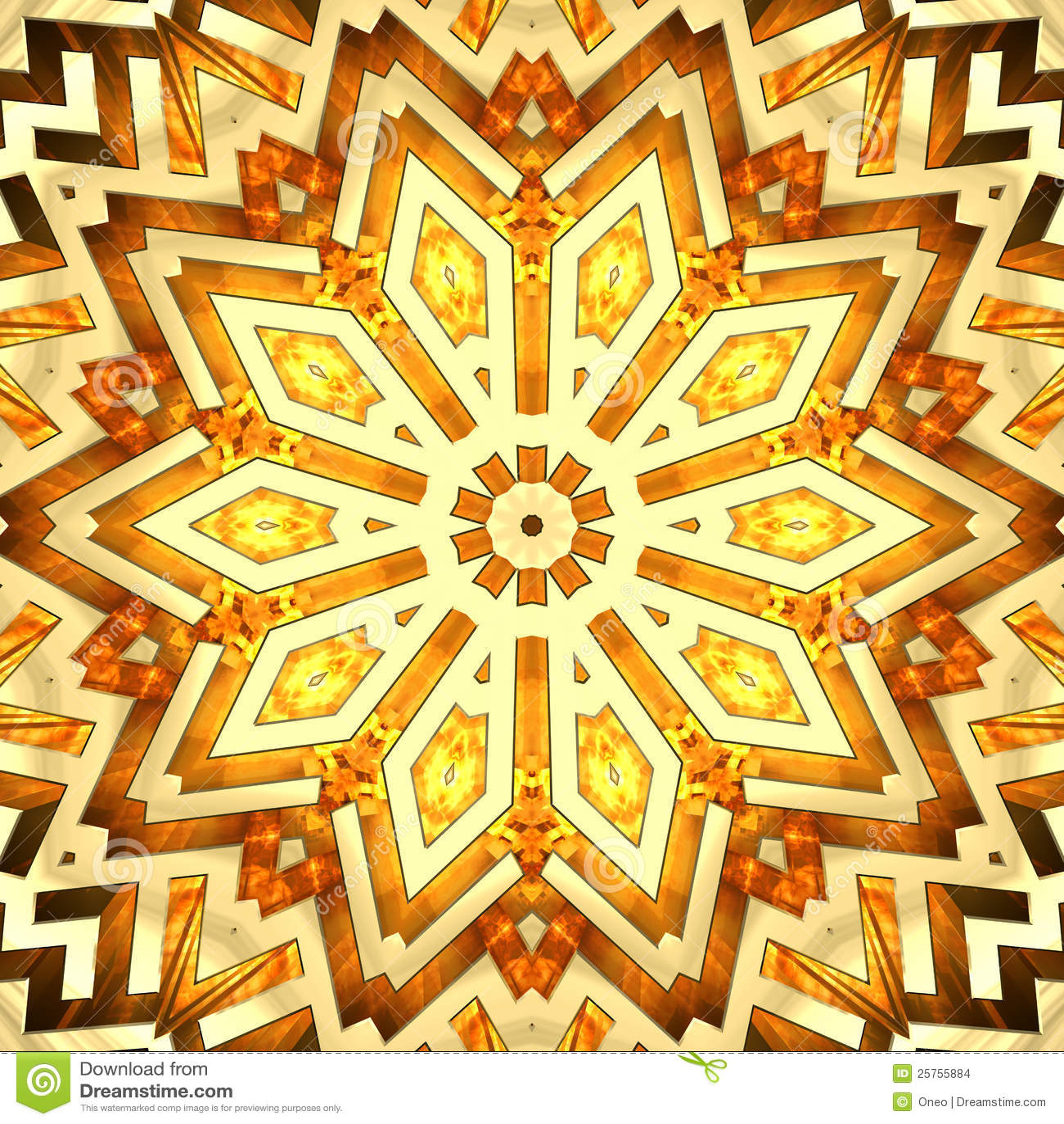 Shiny golden kaleidoscope star