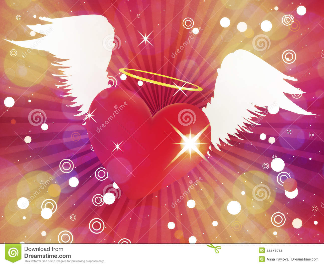 Cool Hearts With Angel Wings Shiny heart with angel wings
