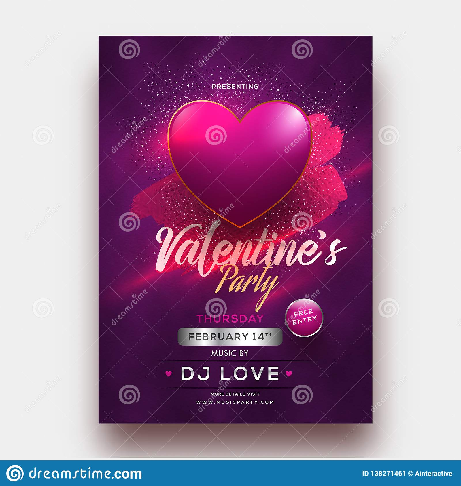 Shiny Heart Shape On Purple Background For Valentine S Party