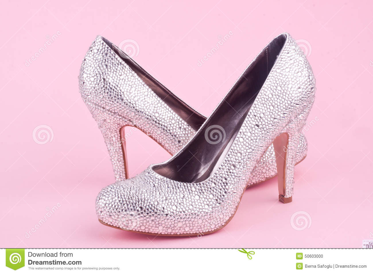 e108a071abfb Shiny High Heel Shoes With Rhinestones Stock Photo - Image of pink ...