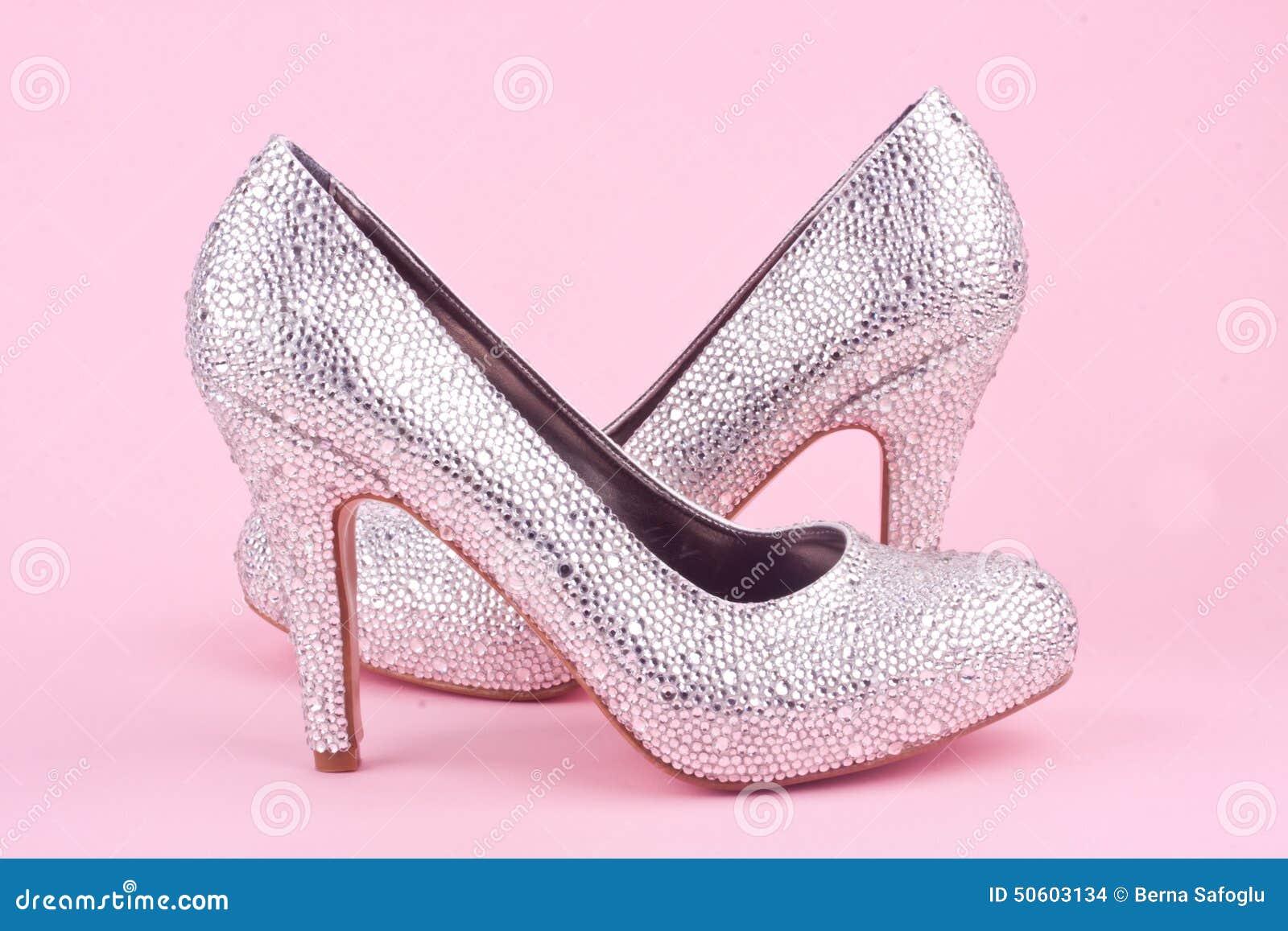 Pink High Heels With Rhinestones