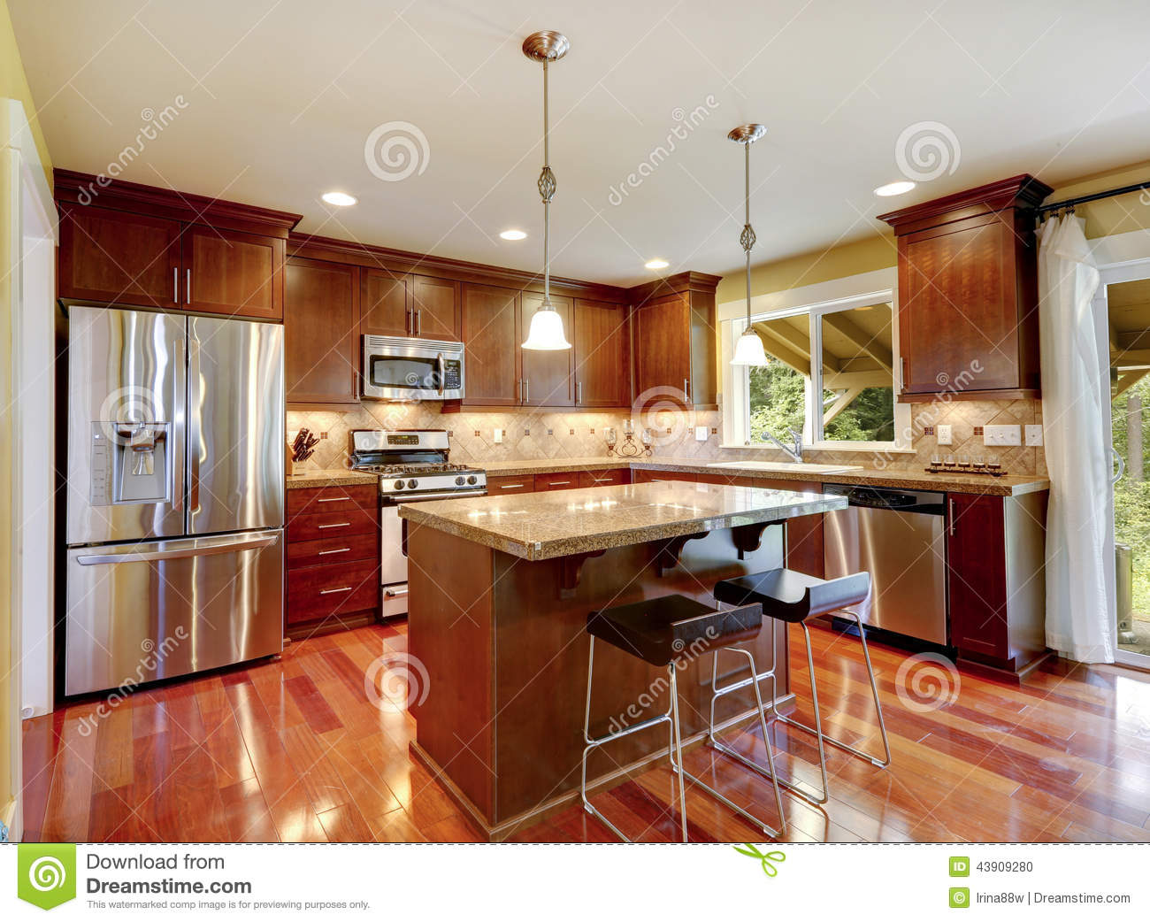 Simple Warm Colors Kitchen Room Stock Image - Image of ...