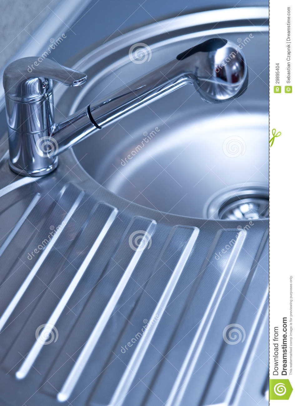 Stainless Steel Sink And Faucet Stock Photo Image Of Ridged Drain