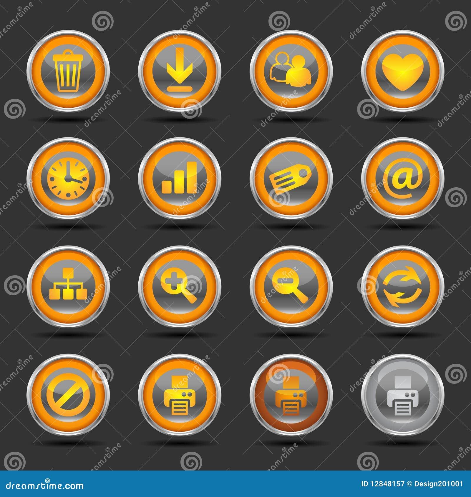 Shiny Orange Icons Set 2 - Web