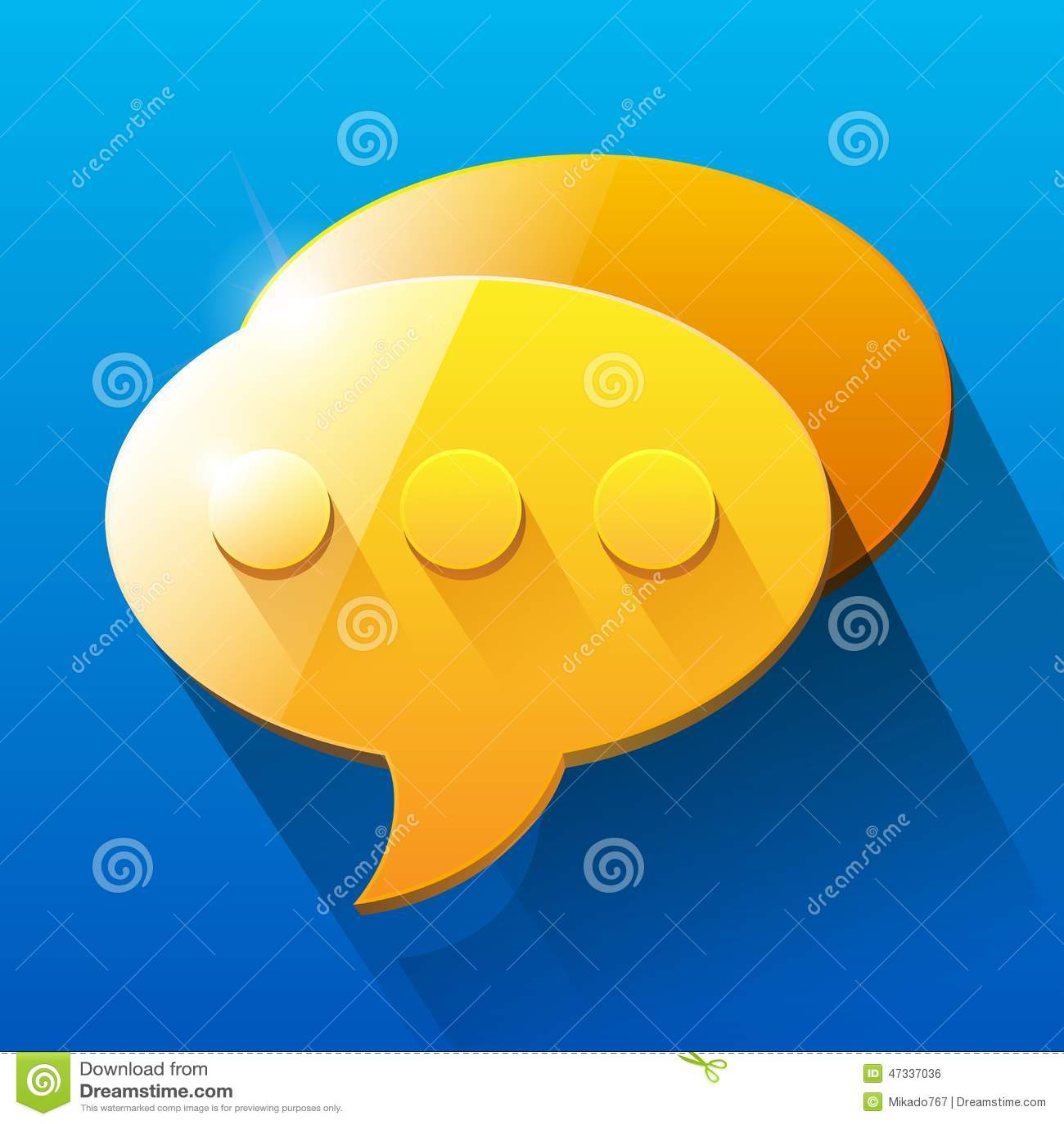 Shiny orange and yellow chat bubble symbols on stock - Chat orange ...