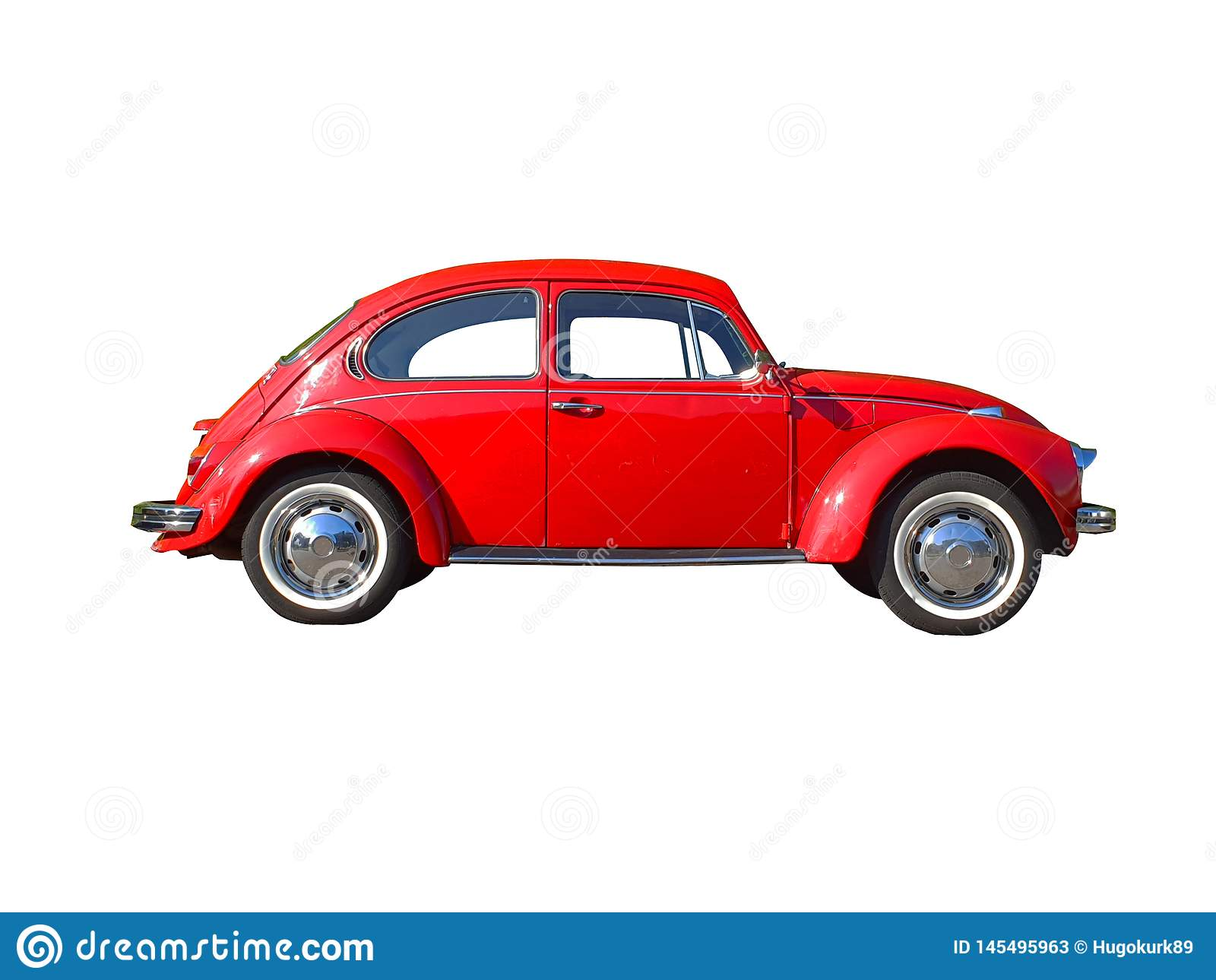 Red Beetle car isolated on black background