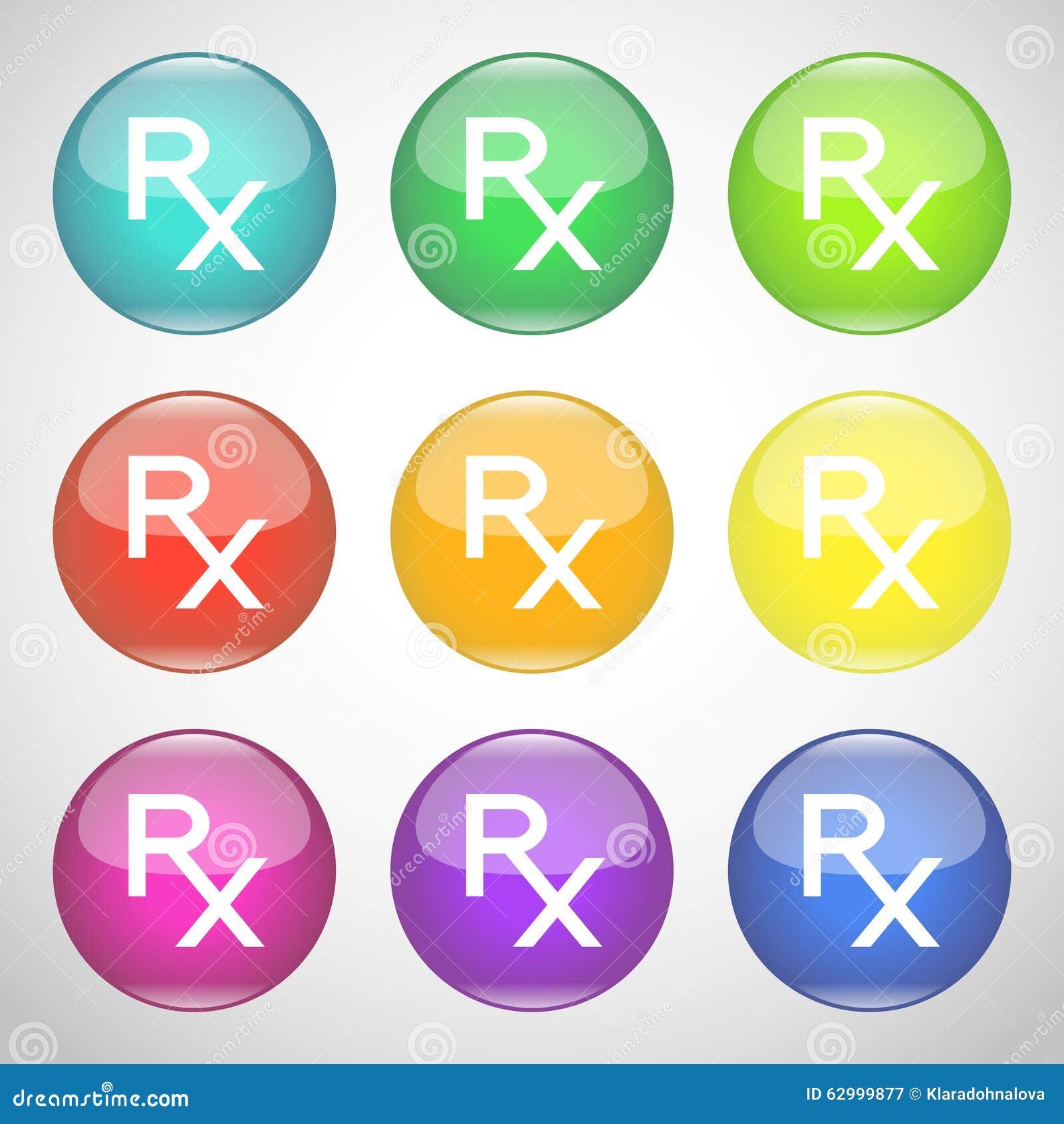 Shiny Rx Buttons Colorful Set Of Symbols Of Prescription Medicine
