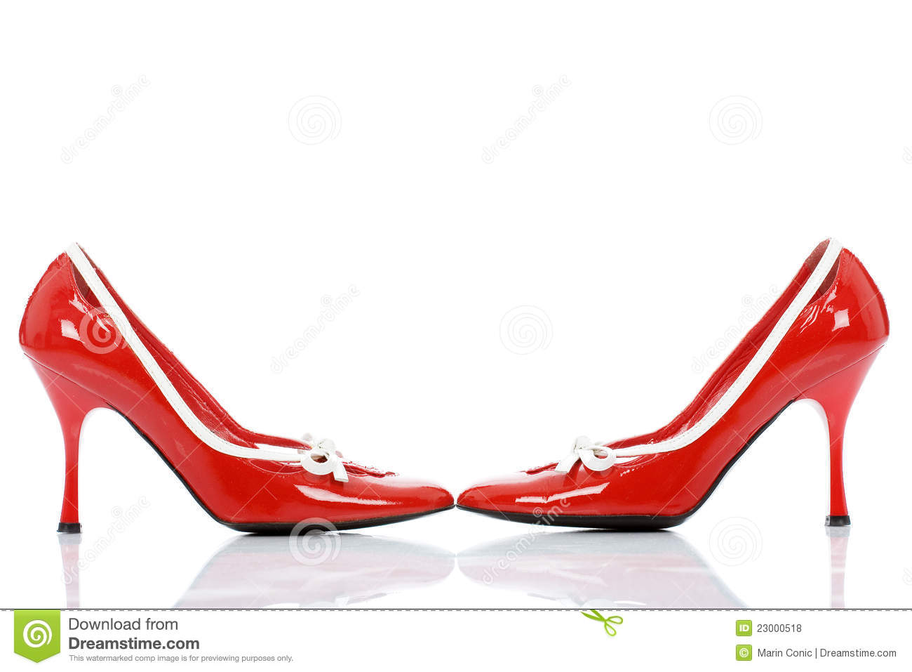 Red shiny shoes isolated on white background