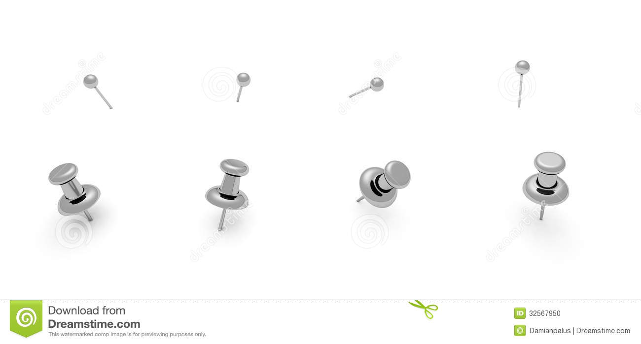 shiny silver push pins in white stock illustration illustration of