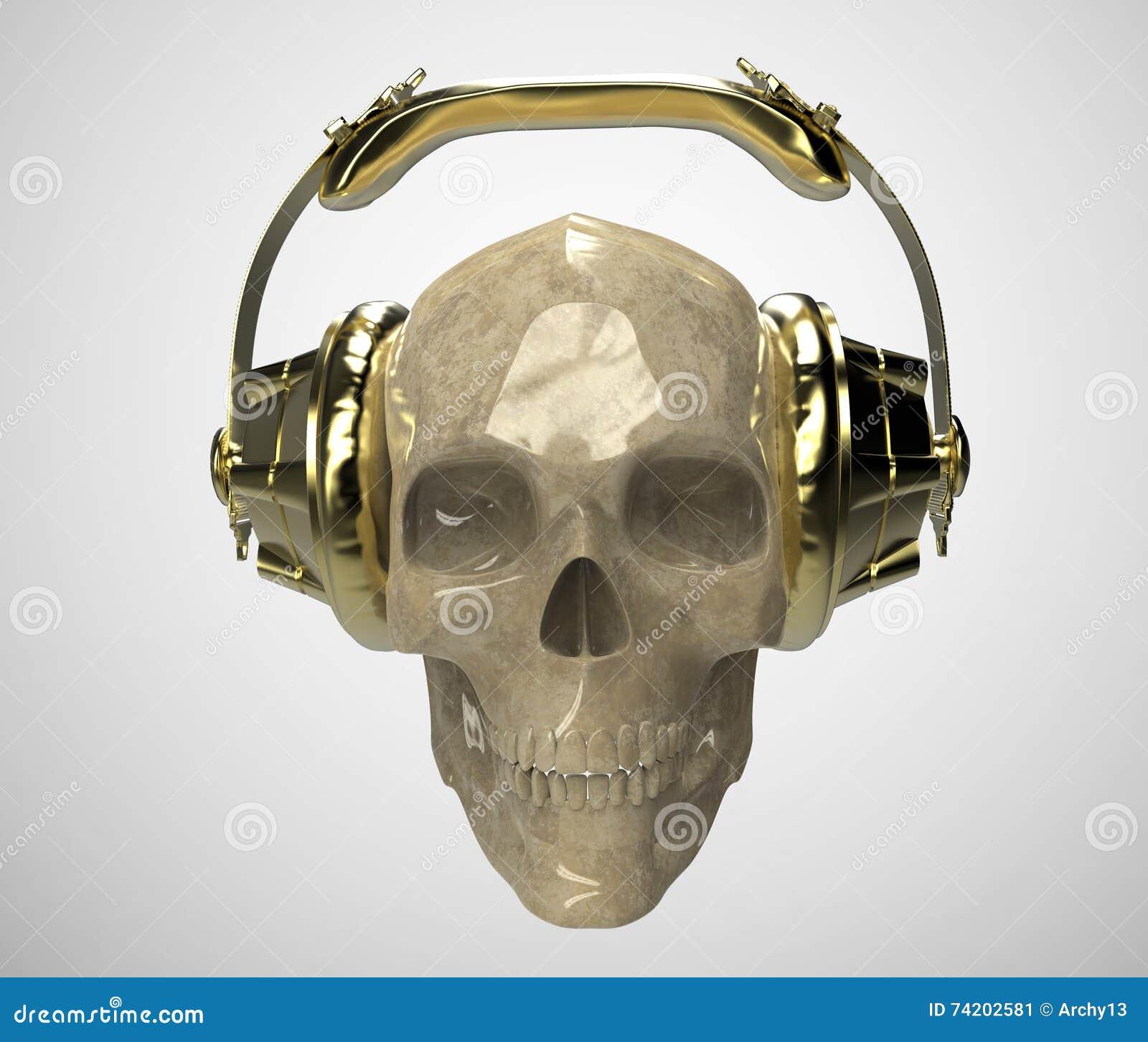 Shiny Stone Human Skull With Golden Studio Earphones On, Render ...