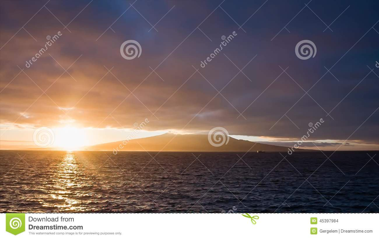 Shiny Sunrise With Clouds At Pico Volcano Stock Footage