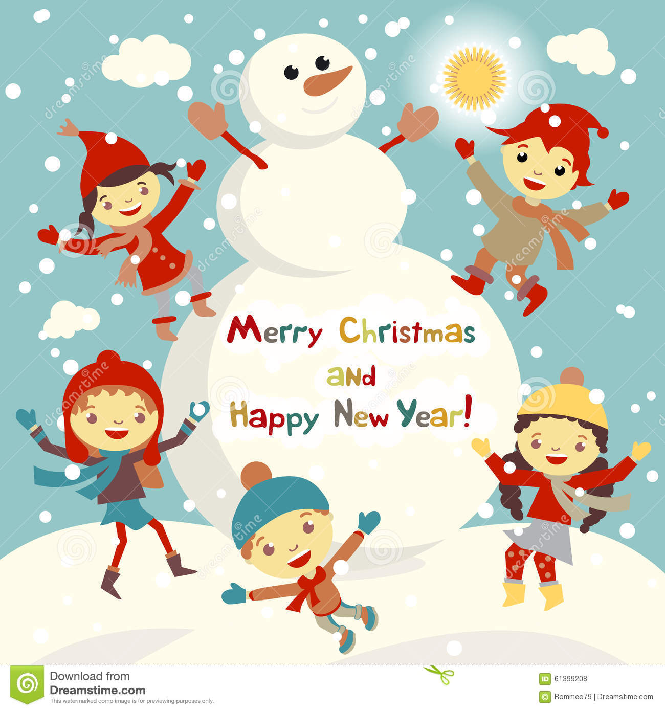 shiny vector christmas background with funny snowman and children