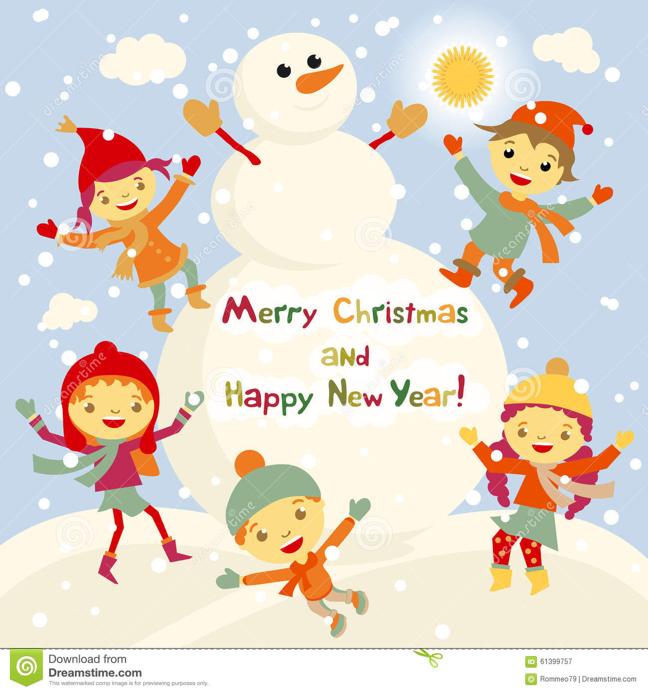 Shiny Vector Christmas Background With Funny Snowman And Children. Happy New ...