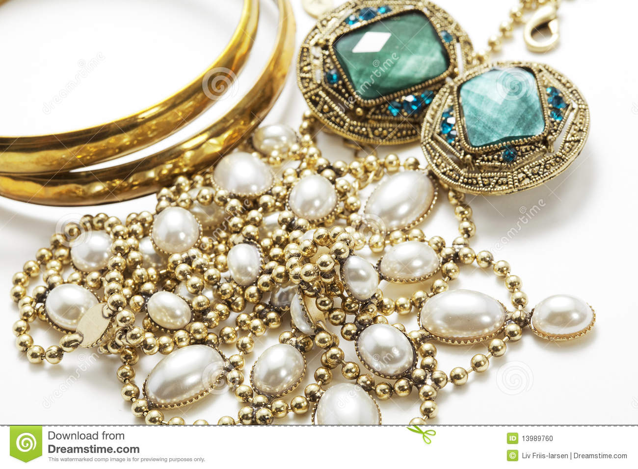 shiny vintage jewelry stock photo image 13989760