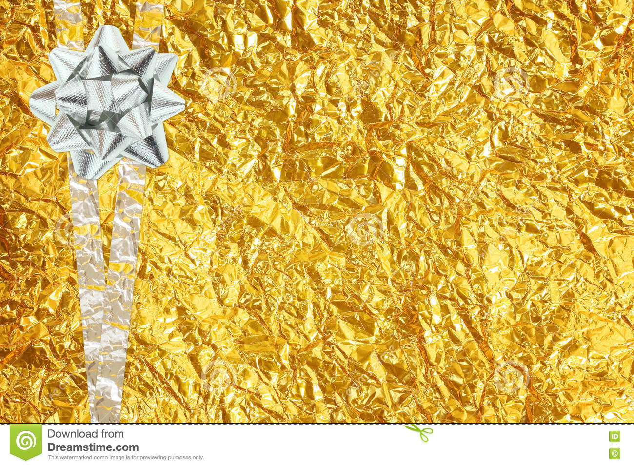 Shiny yellow leaf gold and silver ribbon on Shiny foil