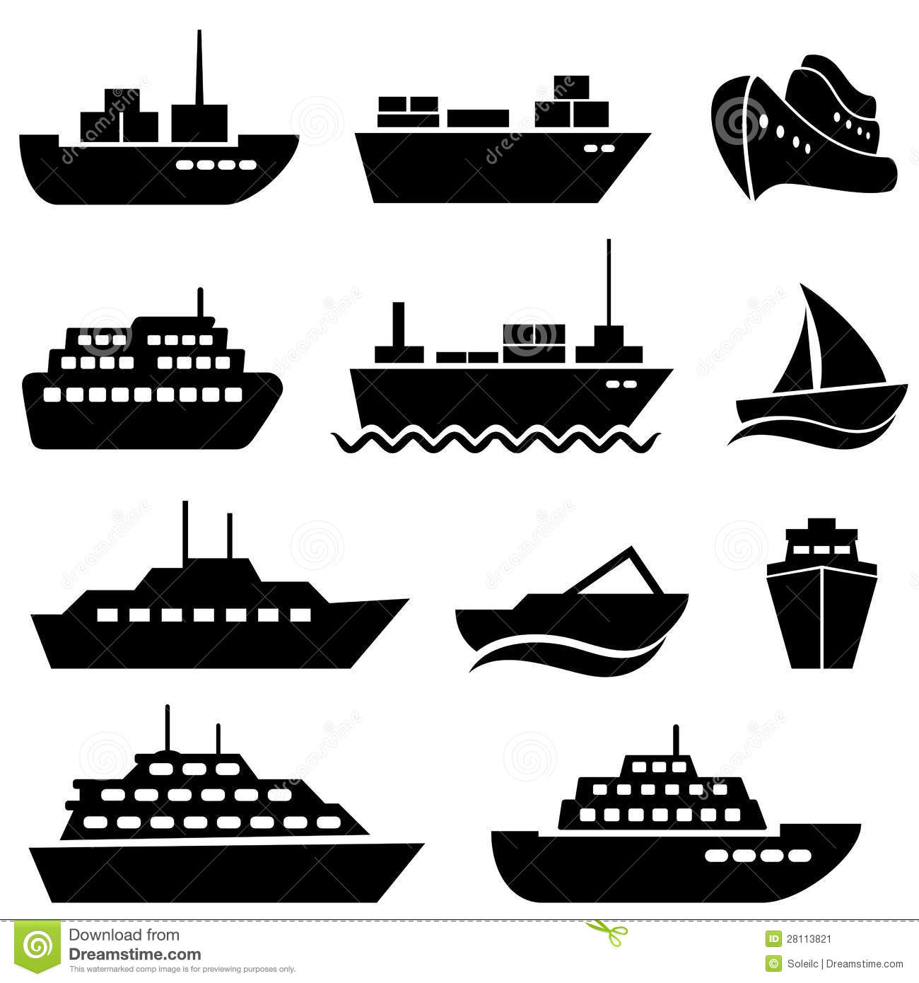 Ship and boat icons stock vector. Illustration of clip ...