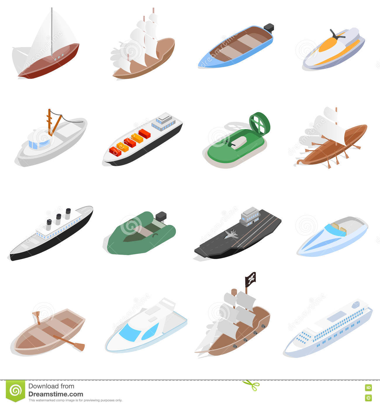 Ship And Boat Icons Set, Isometric 3d Style Stock Vector - Image: 74766440