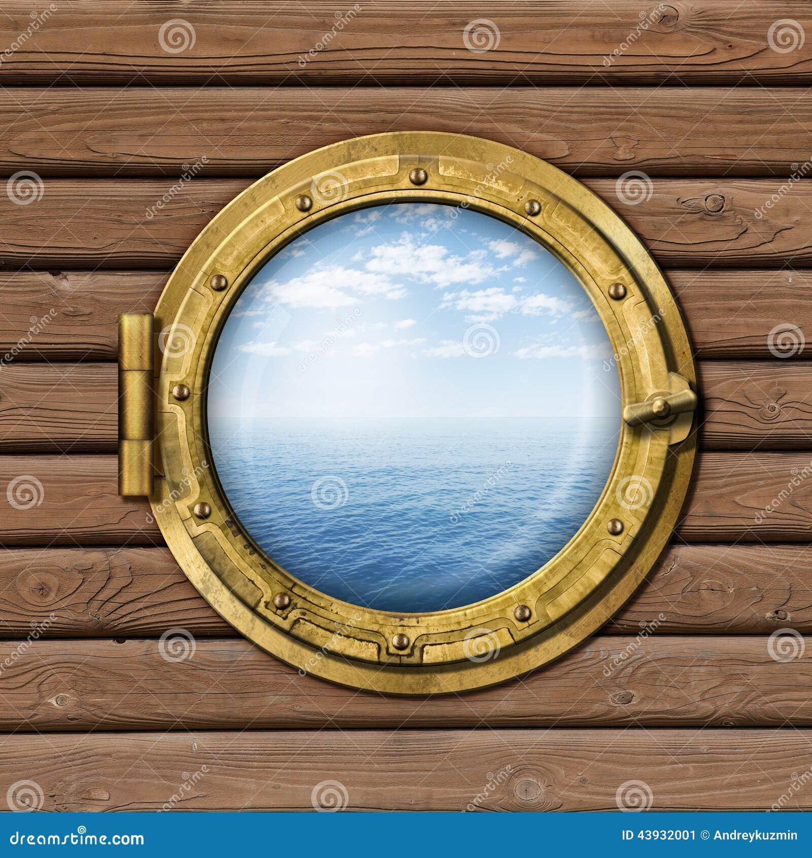 Ship or boat porthole stock image. Image of gold, window ...