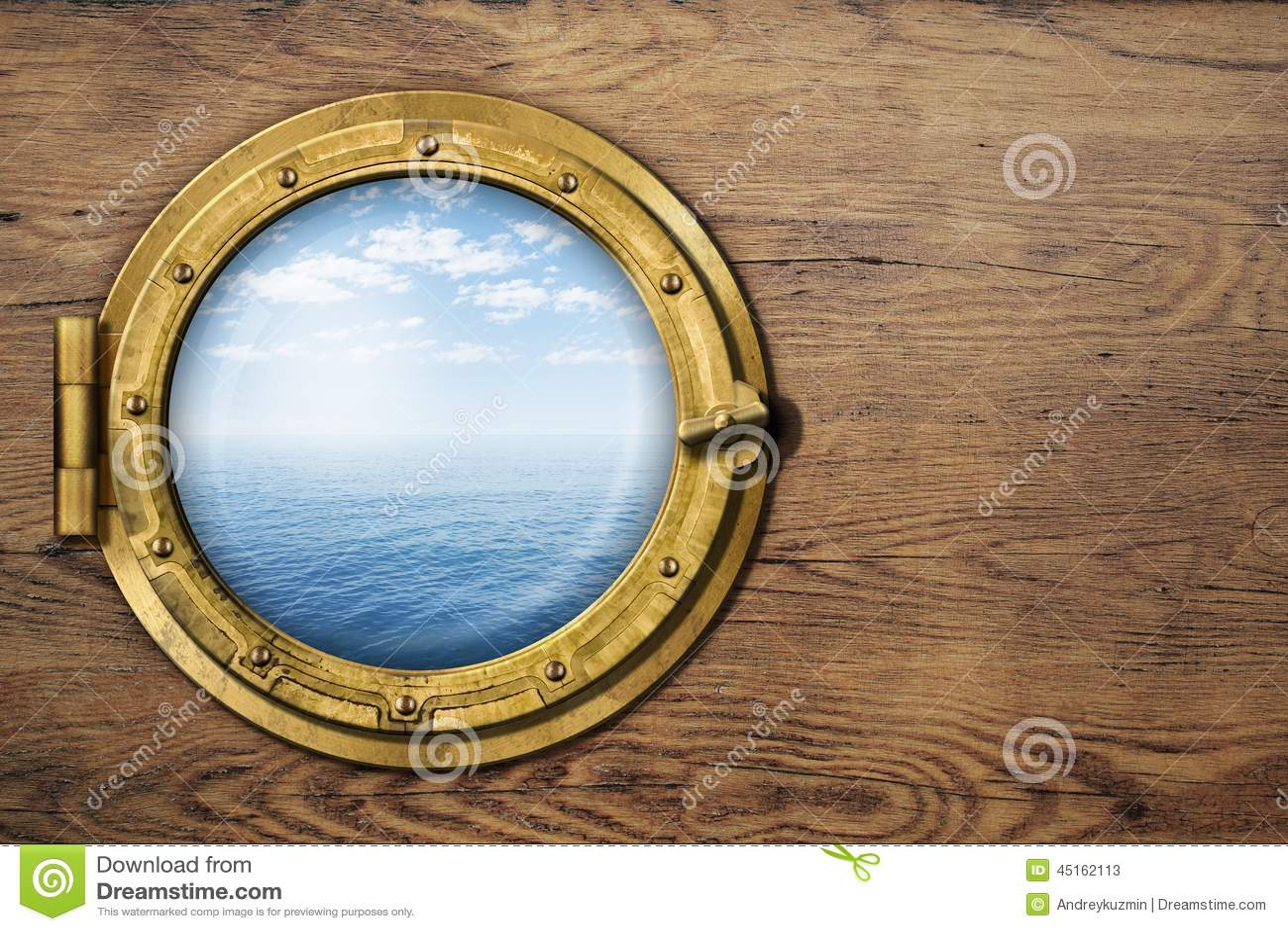 Ship Or Boat Porthole On Wooden Wall Stock Image - Image: 45162113