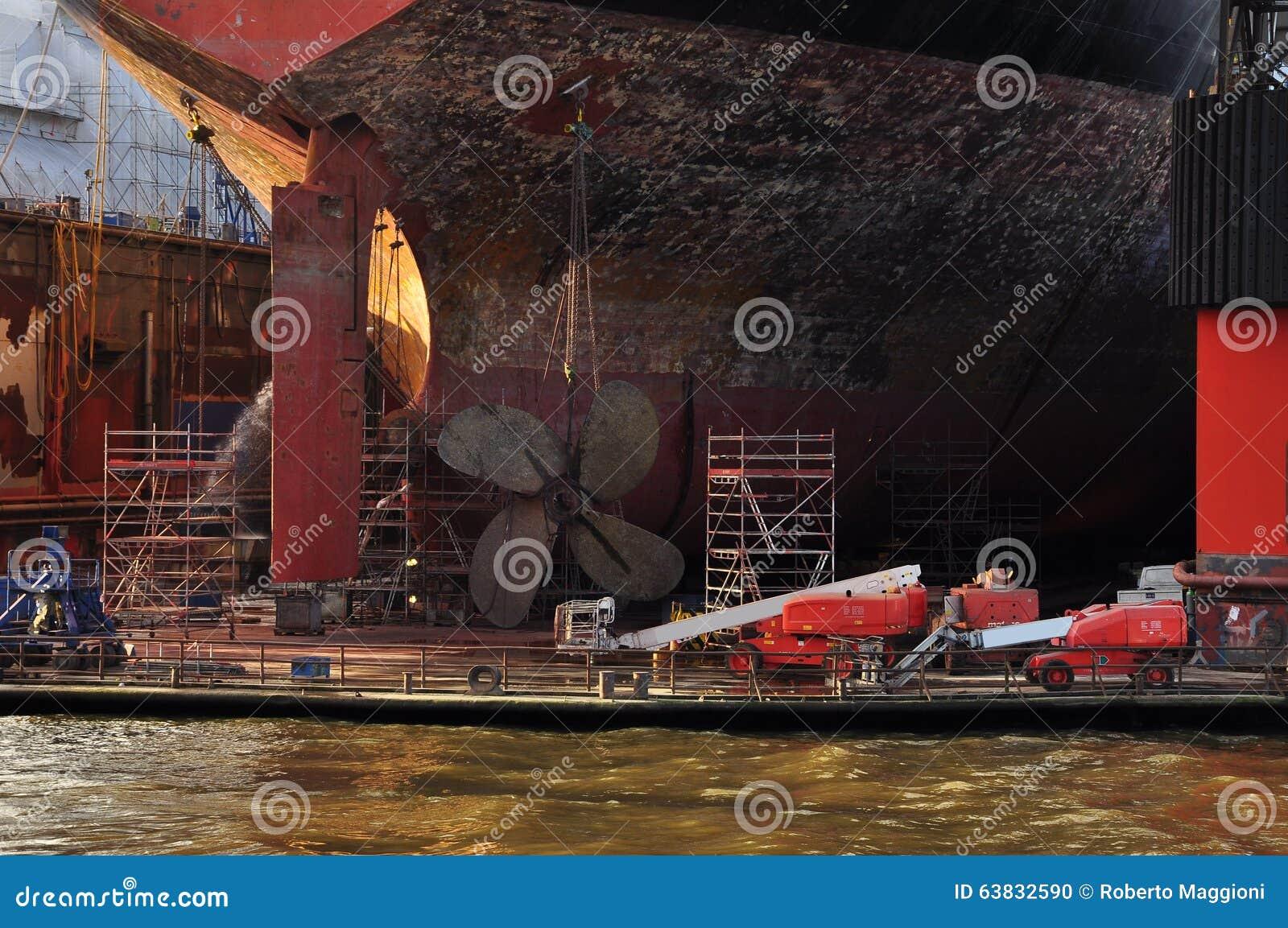 Ship building dock. Shipyard in Hamburg, Germany