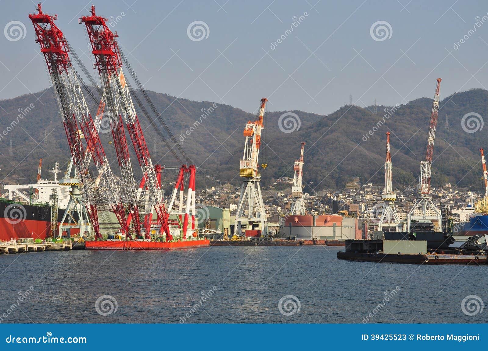 Ship building docks. Shipyard in Kure, Japan