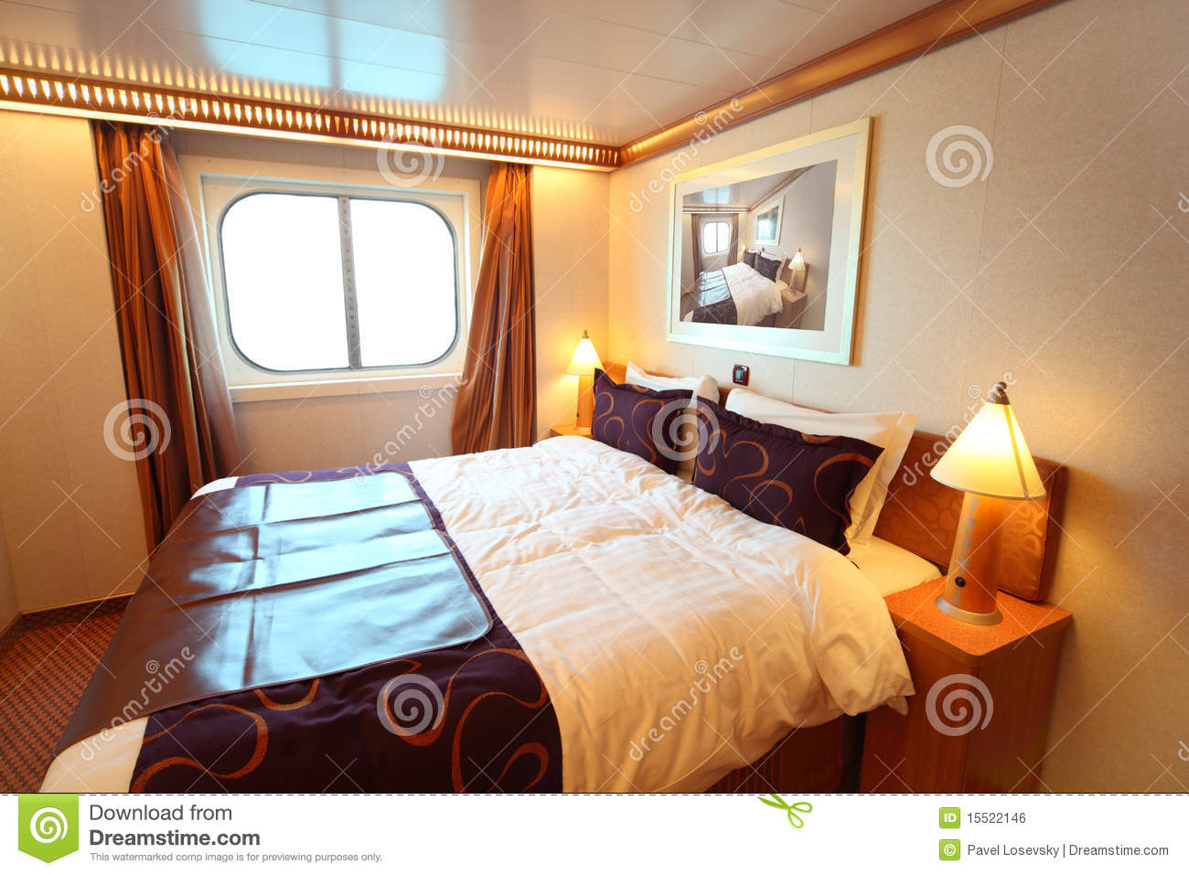 Ship cabin with bed and window