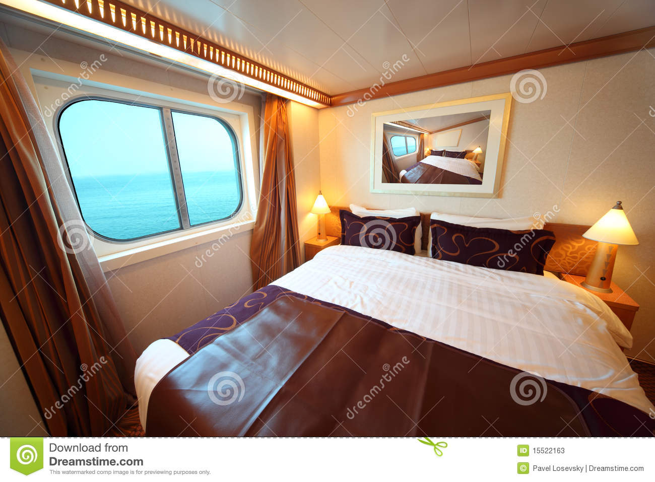 Ship Cabin With Bed And Window With View On Sea Stock