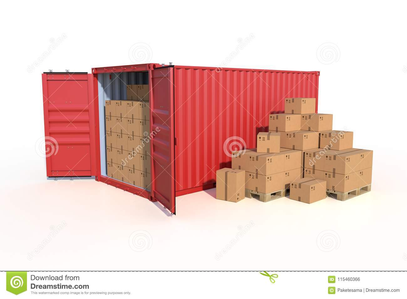 Ship Cargo Container Side View With Cardboard Boxes Stock