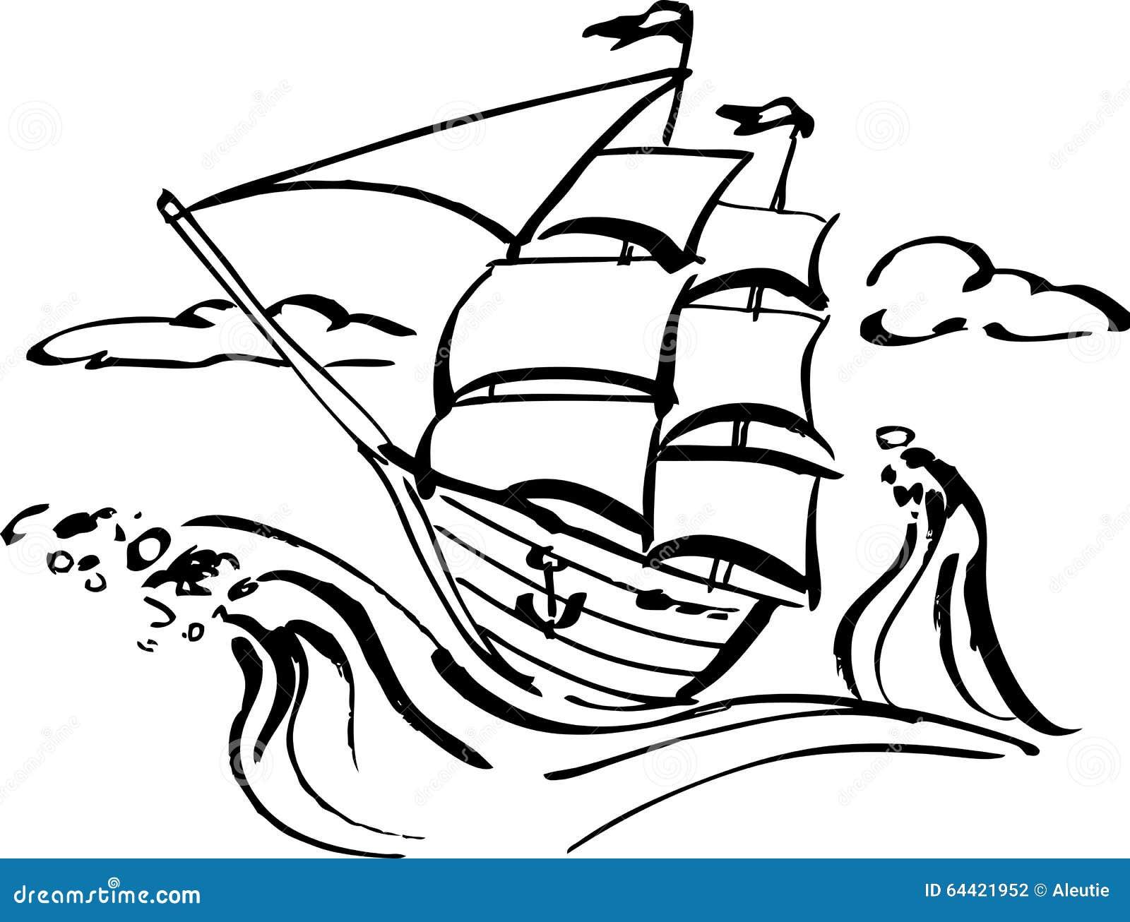 Ship Clip Art Stock Vector. Illustration Of Romantic