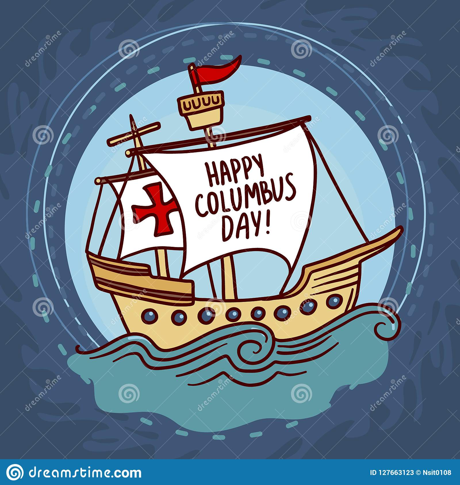 Ship columbus day concept background, hand drawn style