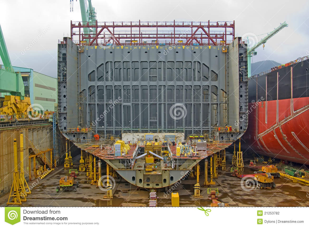 Image of ship under construction showing the internal steelwork.