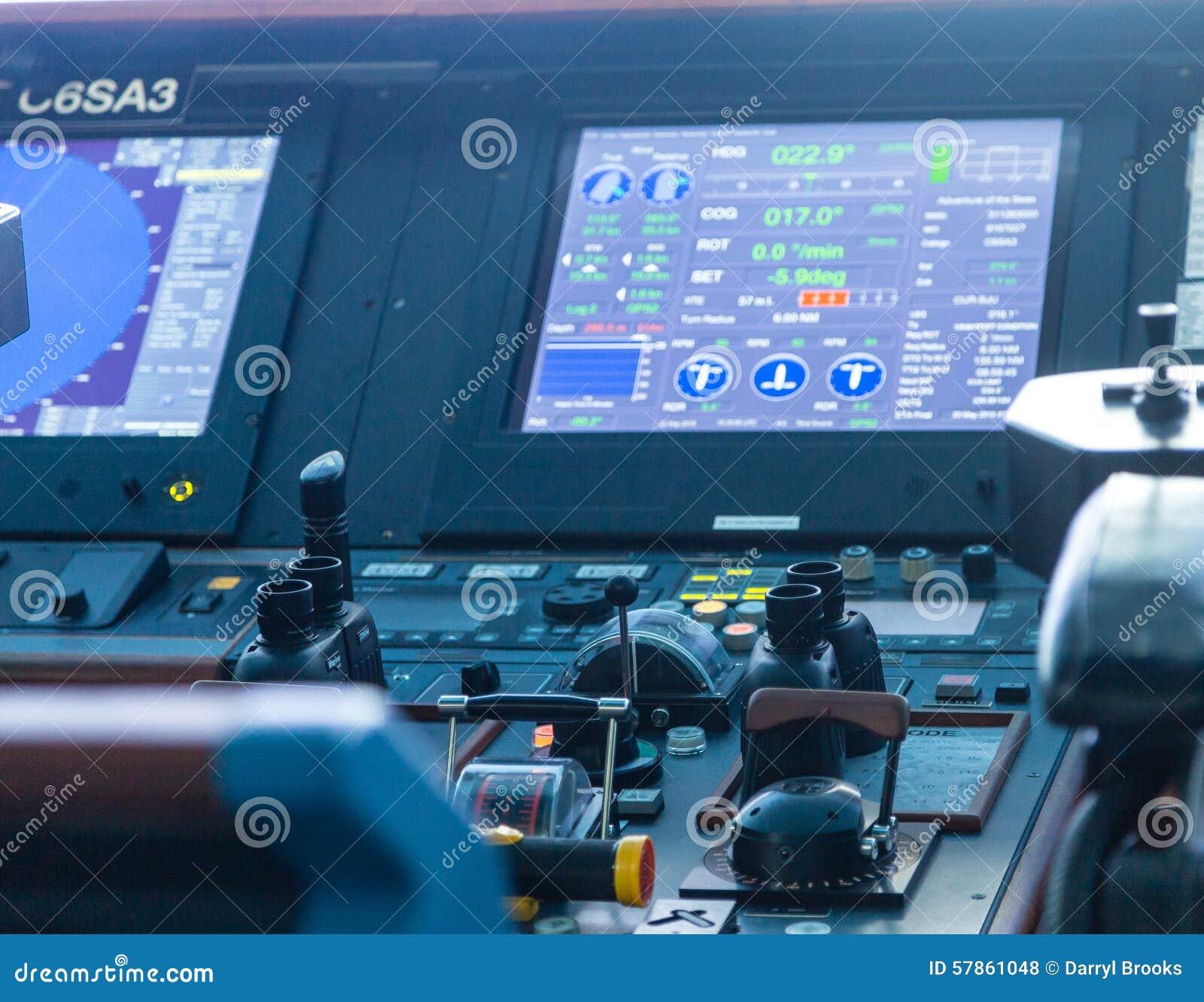 Ship Controls And Data Screen Stock Photo Image - Cruise ship controls