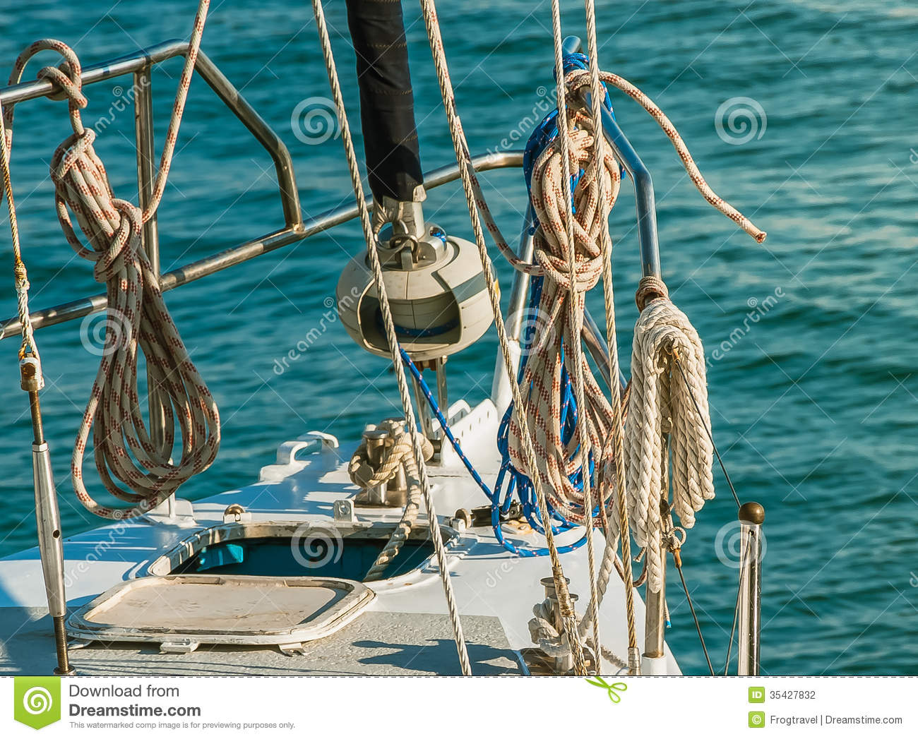 Ship Deck With Ropes Stock Photo Image Of Leisure