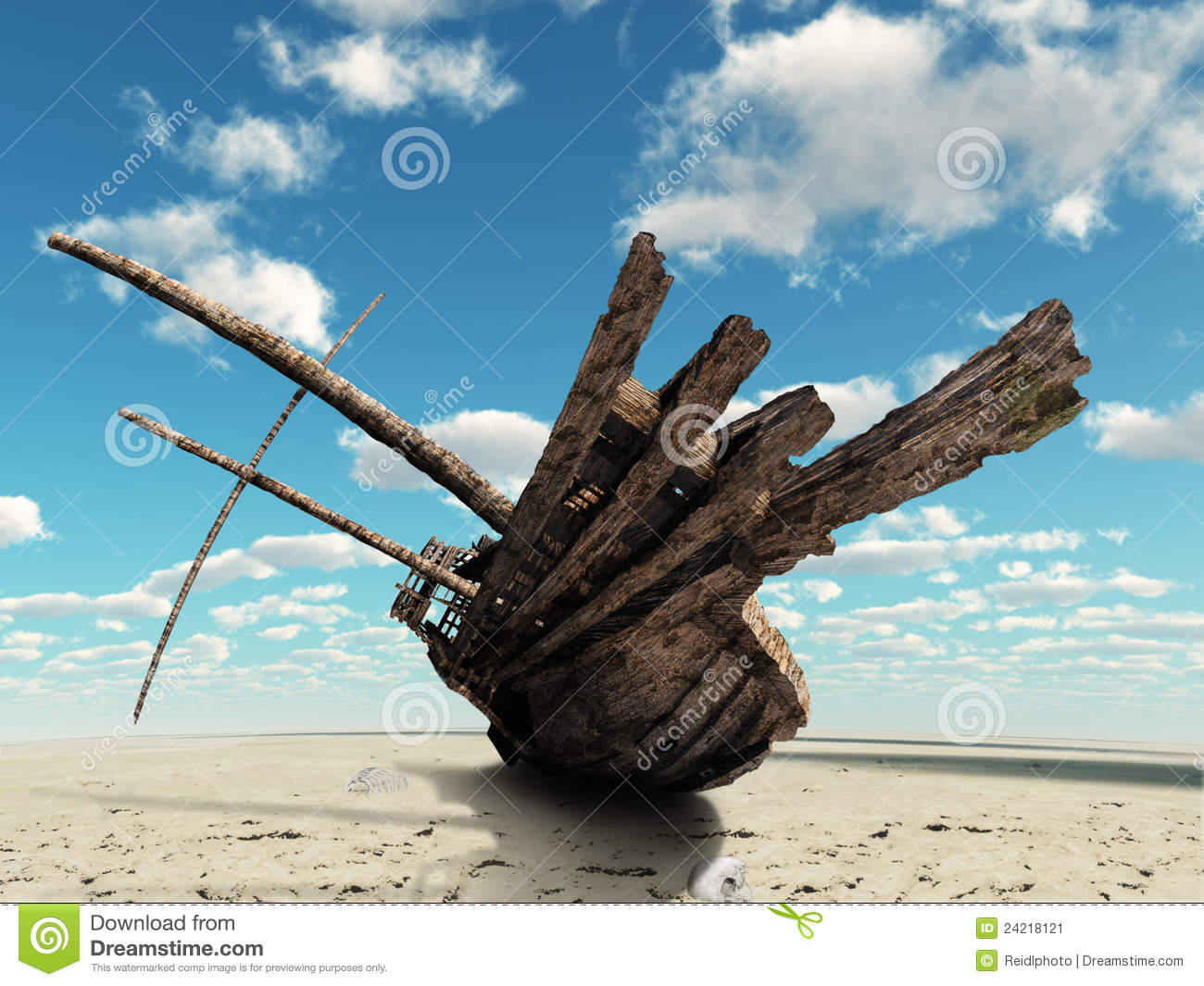 The Ship In The Dried Up Sea Stock Image - Image: 24218121