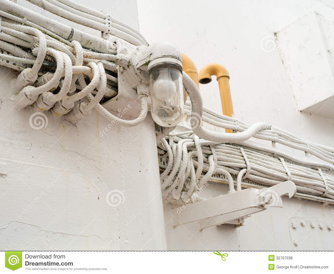 ship electrical wiring and light royalty free stock photos image 32707038