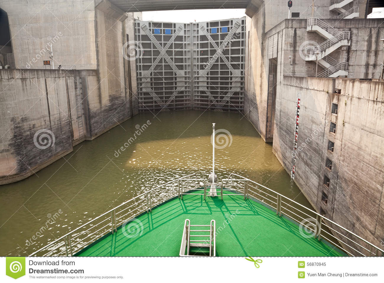 Ship entering the first lock of Three Gorges Dam