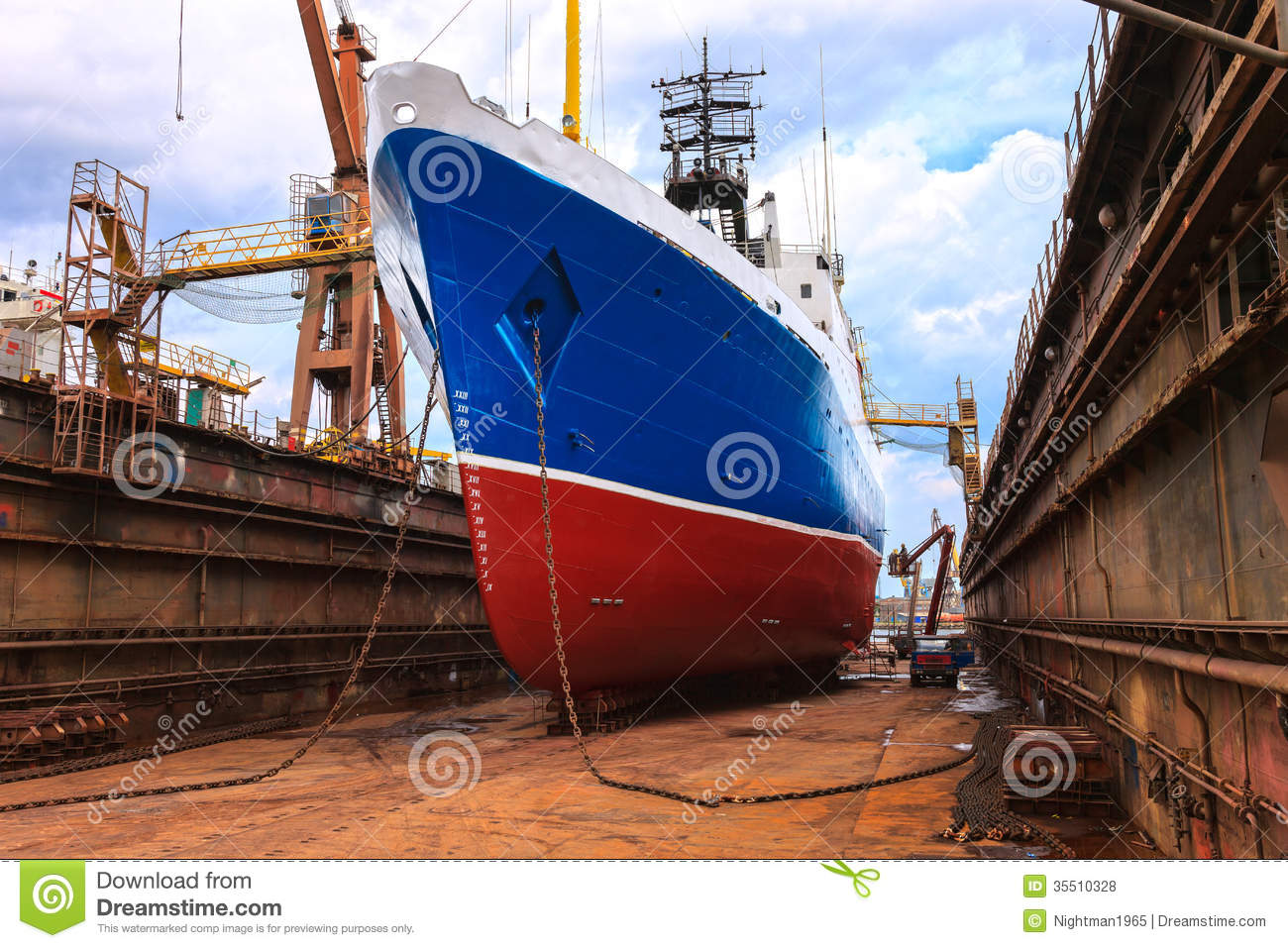 Ship in the floating dock stock photo. Image of engineering - 35510328