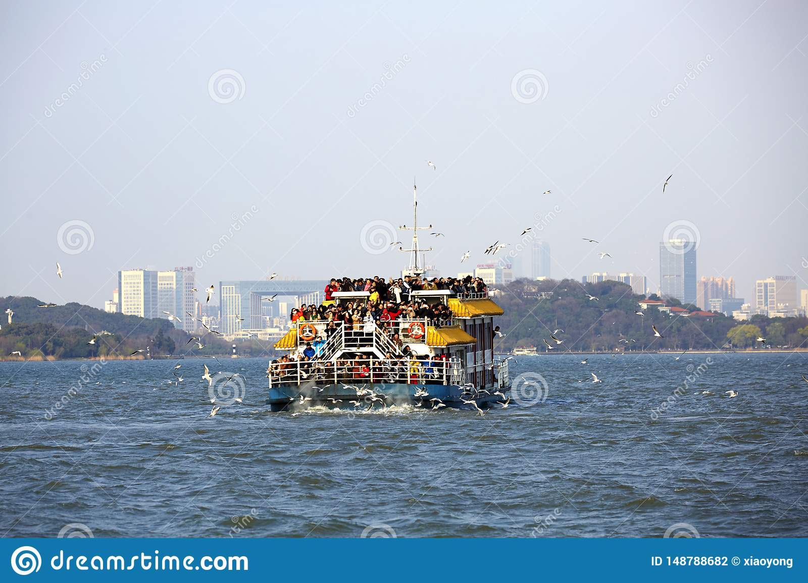 Ship with mass travelers on Taihu Lake, Wuxi, China