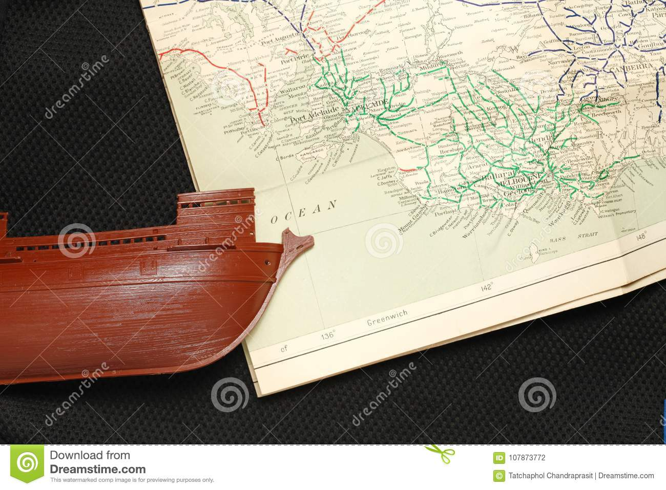 469fad85095b Ship model and map scene. stock photo. Image of gold - 107873772