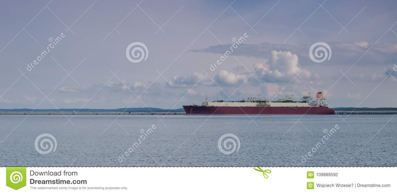 GAS CARRIER stock photo  Image of breakwater, fuel, construction